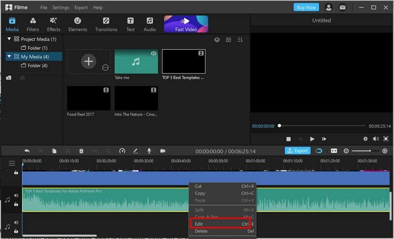 filme edit audio track