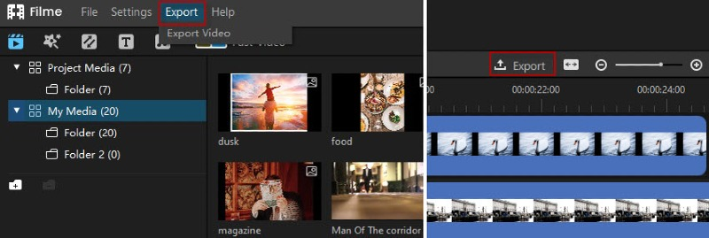 filme export video