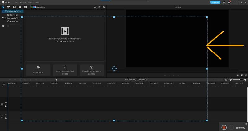 adjust screen record window on filme