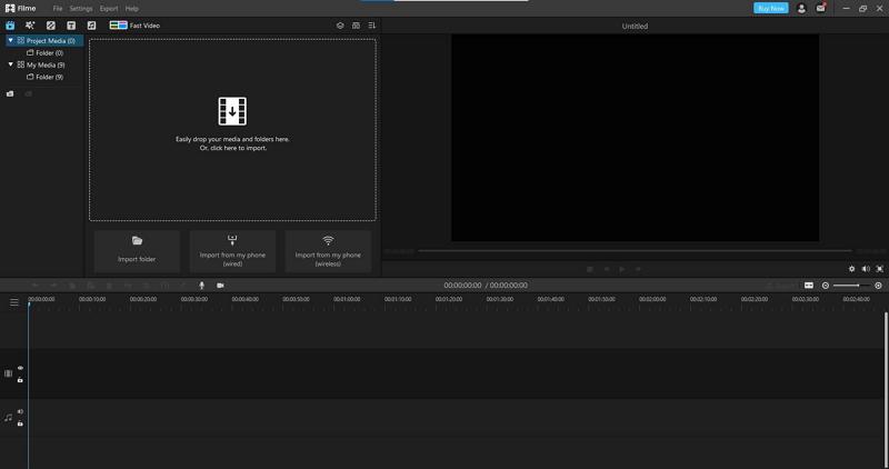 filme interface on computer