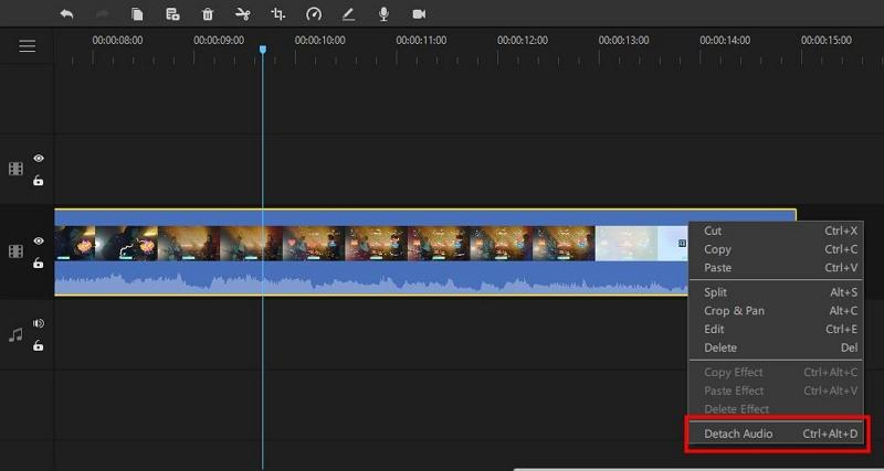 detach audio track from video in filme