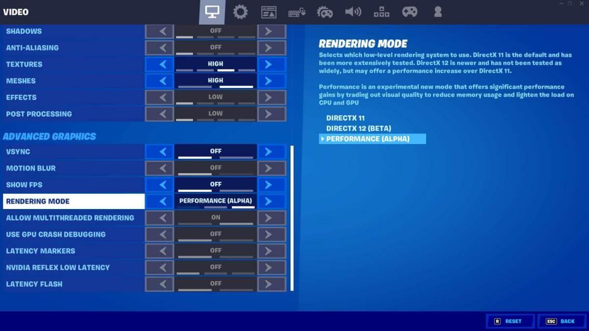fortnite performance mode under advanced graphics