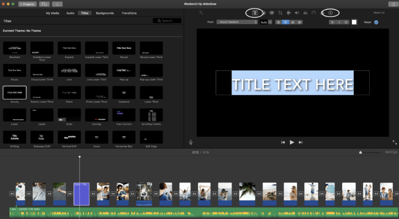 how to create slideshow in imovie text feature