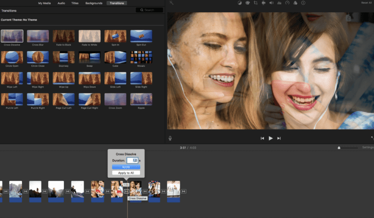 how to create slideshow in imovie transition effect