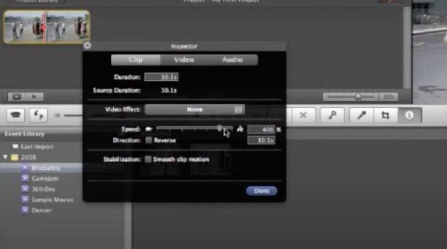 imovie 9 speed control option