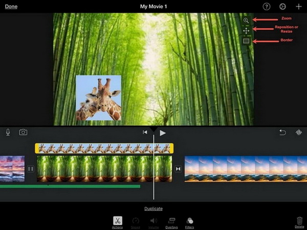how to adjust picture in picture in imovie 9/10/11