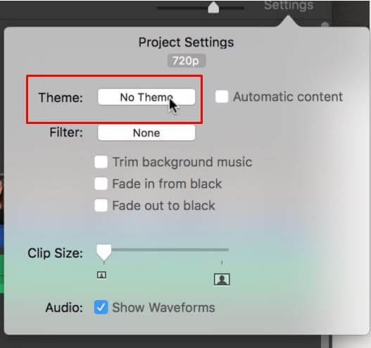 imovie themes choosing option
