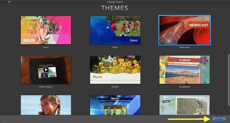 imovie themes settings change theme