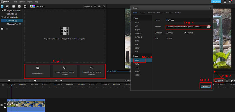 import video to filme for making ringtone
