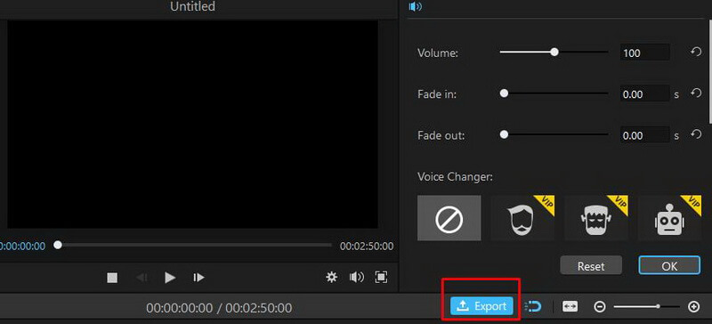 imyfone filme audio export option