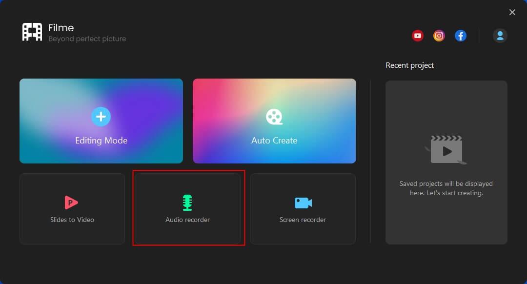 imyfone filme audio recording option