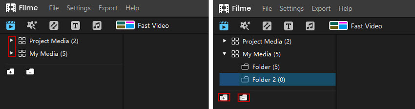 manage media and folder in filme