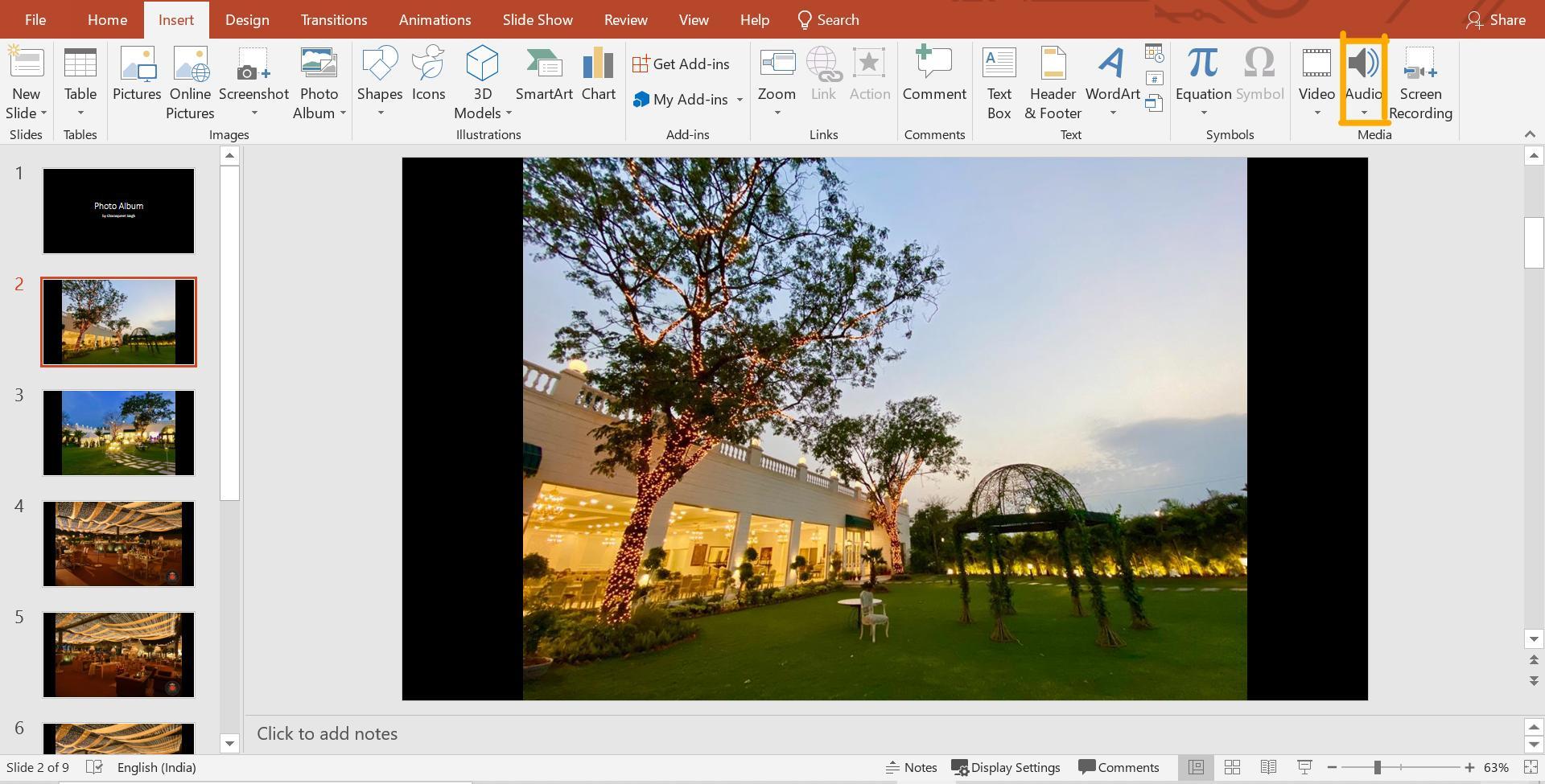 Microsoft slideshow presentation slide with audio
