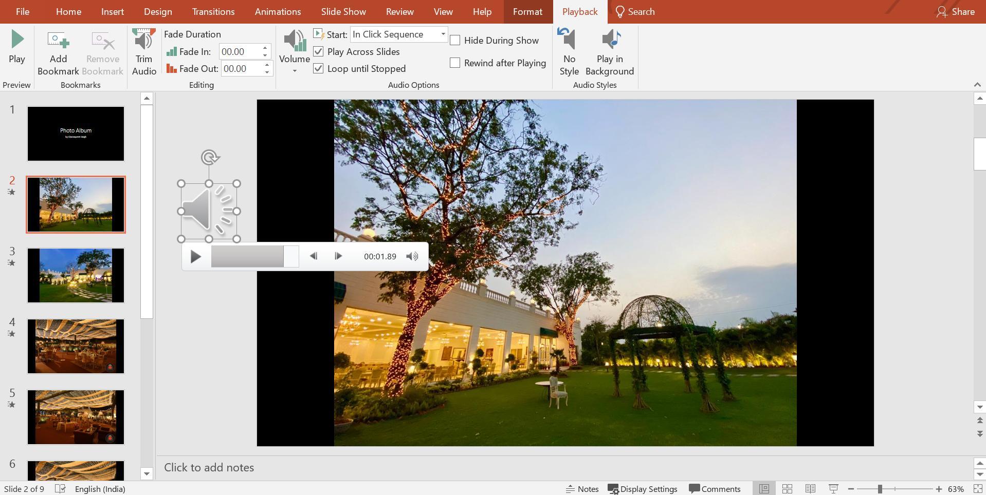 Microsoft slideshow with audio editor
