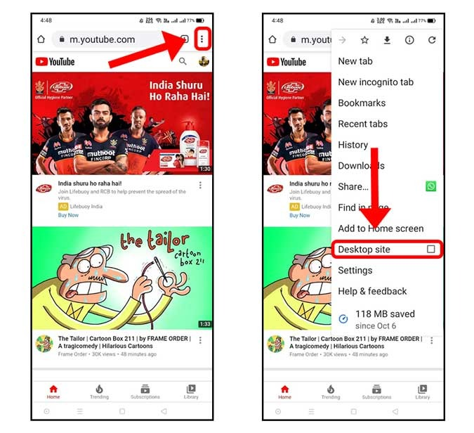 how to loop a youtube video on mobile android