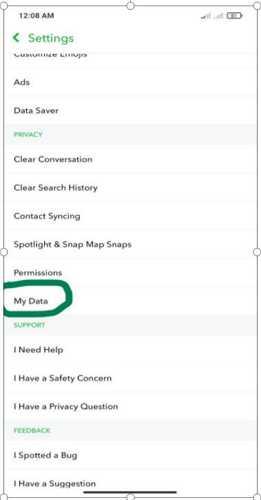 my data on snapchat setting