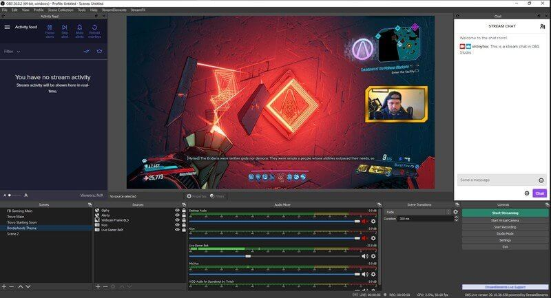 obs screen recorder interface