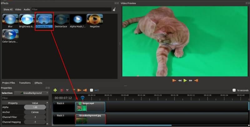 openshot greenscreen filter