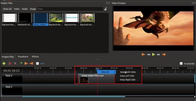openshot trim videos
