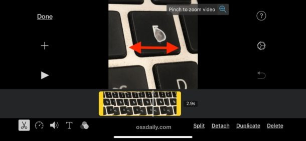 how to resize video in imovie ipad iphone app