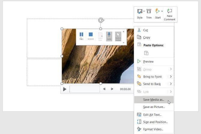 powerpoint screen recording save media