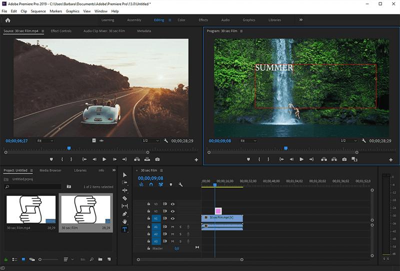 premiere pro interface