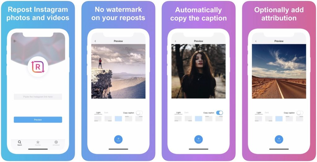 IGTV Open Reposter screen page iOS