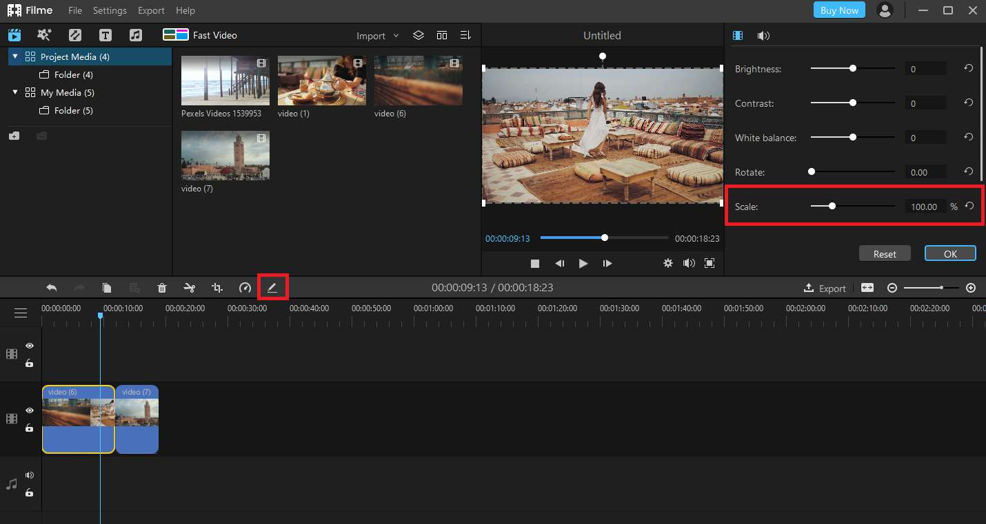 How to scale a Video using Filme