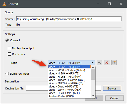 select any predefined video profile in vlc