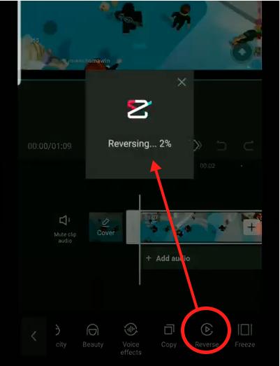reverse video playback on capcut android and capcut ios