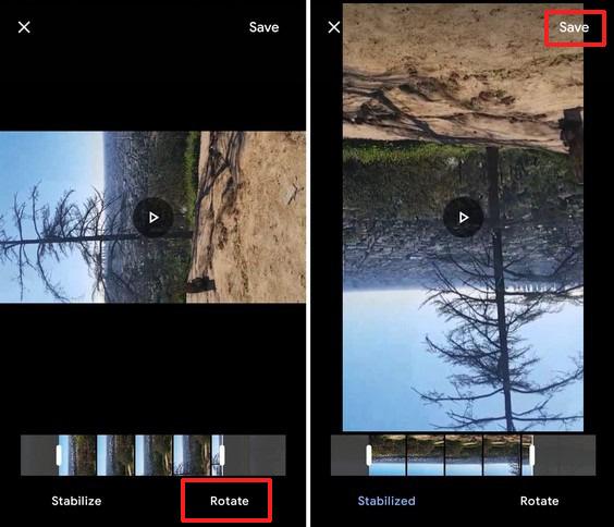 rotate youtube video using google photos