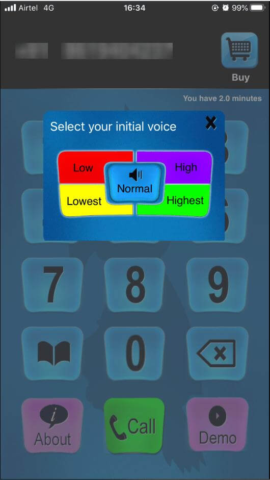 select voice pitch in call voice changer