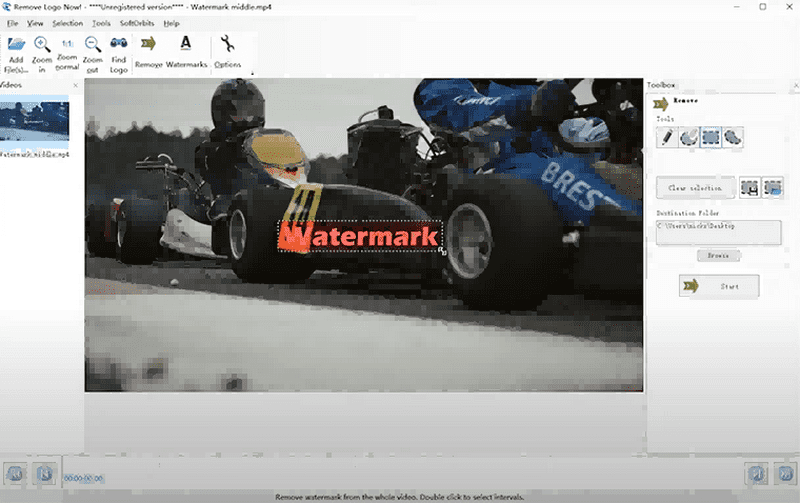select watermark area in remove logo now