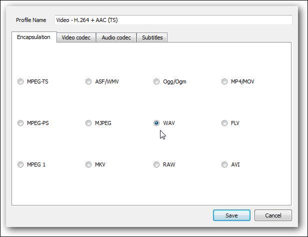 select wav as converting file