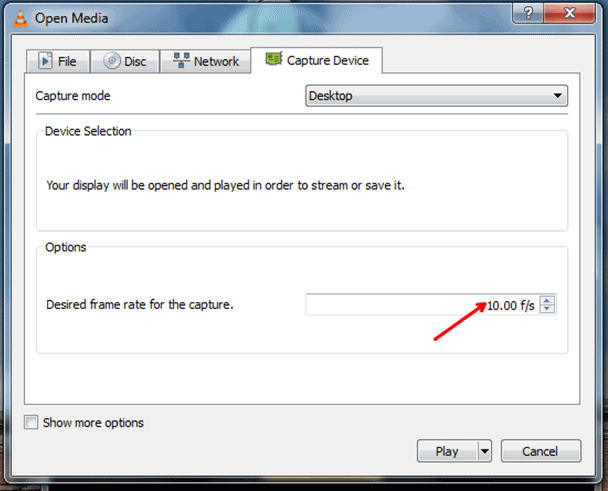 set desired frame rate in vlc