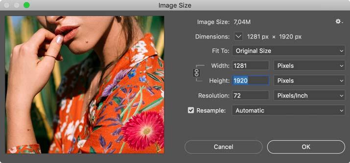 set photoshop image size for insta slideshow