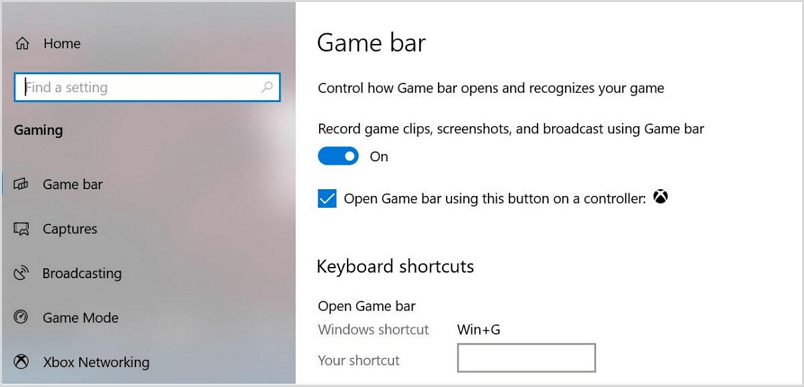 Turn on Game Bar setting on Surface Pro