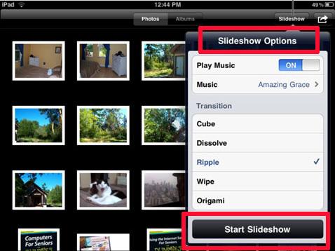 slideshow option menu on ipad