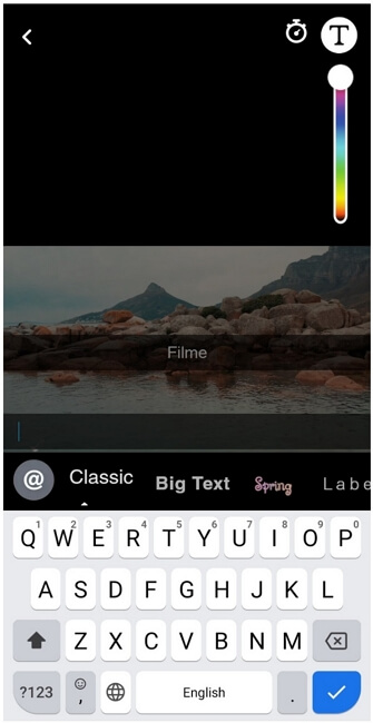snapchat add text