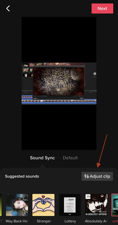 tiktok adjust clips trim function
