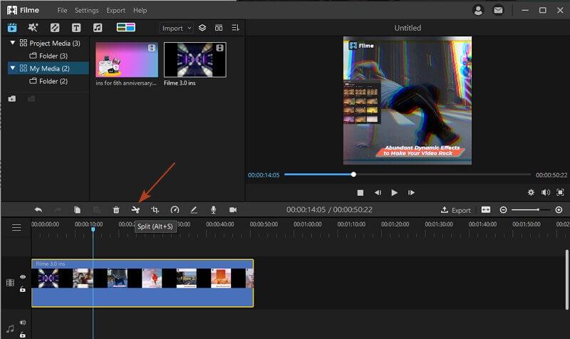 split video clip in Filme