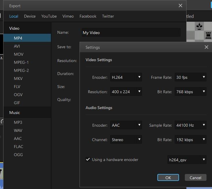 twitter video export options