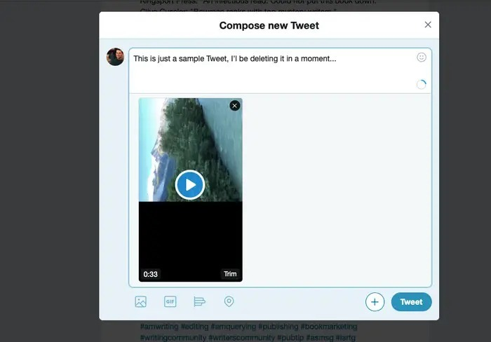 upload the video on twitter