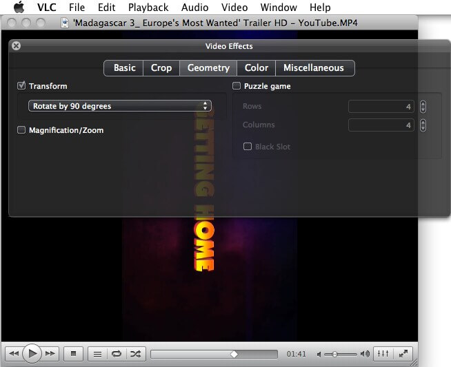 how to rotate video in vlc mac