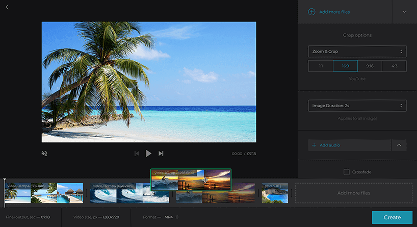 How to make slideshow with Clideo Online video Maker