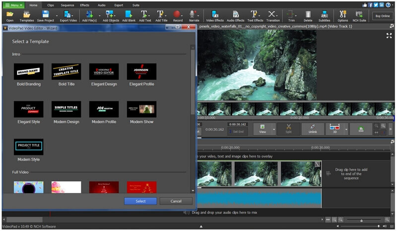videopad templates and effects
