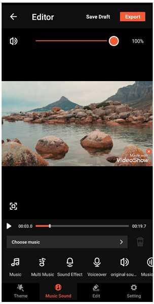 videoshow music sound