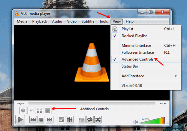 view advanced control in vlc