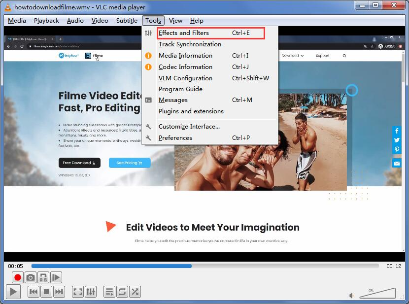 rotate video option vlc
