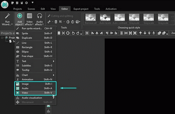 add gif to video vsdc create new project